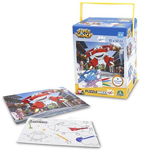 Giochi Preziosi - Super Wings Puzzle con Pennarelli, 120 Pezzi