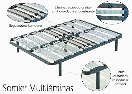 ES Somier multiláminas con reguladores lumbares-90x190cm-PATAS 26CM (4 Patas Incluidas), Haya, 90x190cm