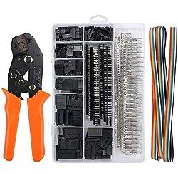 Herramientas de Crimpadora Dupont, Juego de Crimpadora con 1550PCS Pins Conector Dupont 28-18AWG 0.1-1.0mm² para equipamiento de impresión 3D RPi Arduino