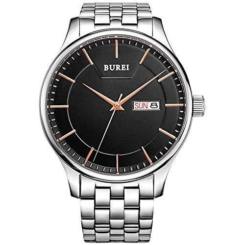 BUREI Orologio da uomo elegante orologio da polso al quarzo giapponese movimento al quarzo...