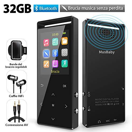 Lettore MP3 32 GB Bluetooth 4.2, Lettore Hi-Fi con radio FM, Brucia Musica Senza Perdita,...