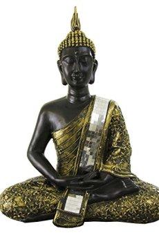 Figura buda Thai de resina en color negro y dorado | 60 cm de alto | Portes gratis