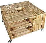 "MESA Cajón de fruta ""JOHANNA"" con ruedas zwischebrett/tabla central Medidas aprox. 90 x 90 48cm MESITA BAJA Cofre Sofá caja Vino madera estantería regaltisch salón - Flameado CON INSERTO"