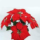 Hunt Gold - Ramo de Flores Artificiales, diseño de Flor de Pascua, Color Rojo y Dorado, Rojo, About 22cm