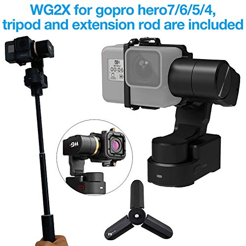 Feiyu WG2X 3-Axis Wearable Waterproof Gimbal for GoPro Hero 7 Hero 6 hero 5/GoPro Hero4/Session AEE SJCam and Other Similar-Sized Action Cameras with Extension rod,Tripod and box