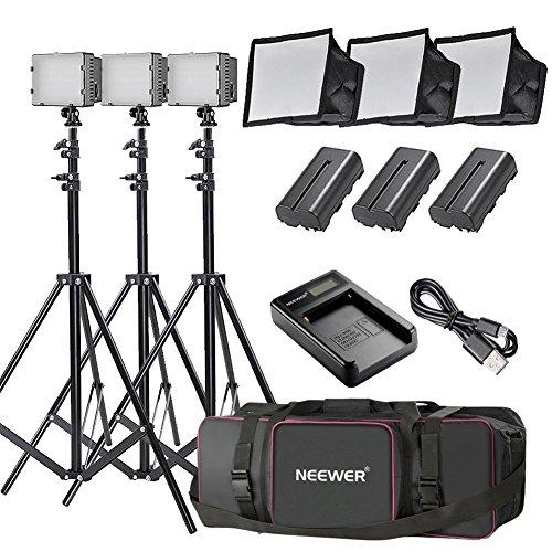 Neewer 3pz. 160 LED Kit di Illuminazione Pannello Luce Regolabile per Fotocamera...