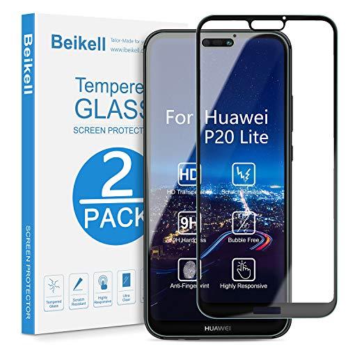 Beikell Vetro Temperato per Huawei P20 Lite, [2 Pezzi] Copertura Completa Pellicola Protettiva Protezione Schermo per Huawei P20 Lite - Durezza 9H, Anti graffio, Senza Bolle, Facile da Pulire