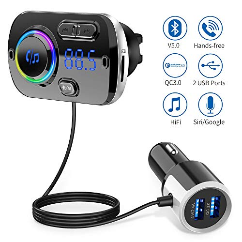 Trasmettitore FM Bluetooth 5.0 per Auto con Due Porta USB (QC 3.0 e 2.4A) Radio Bluetooth Auto...