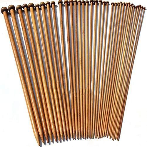 Elviray 36Pcs / Set Bamboo Carbonizzato Crochet 2-10mm Single Pointed Smooth Knitting Needles per...