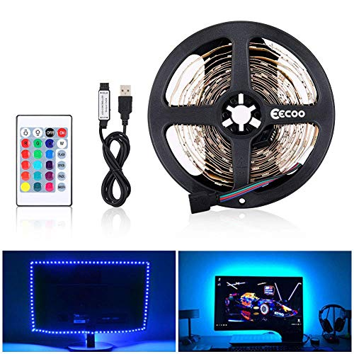 eecoo LED Striscia RGB 5M LED TV Retroilluminazione Striscia 150LED 5V SMD 5050, USB Bias TV LED Posteriore di Illuminazione Kit con IR Telecomando per HDTV e PC Monitor