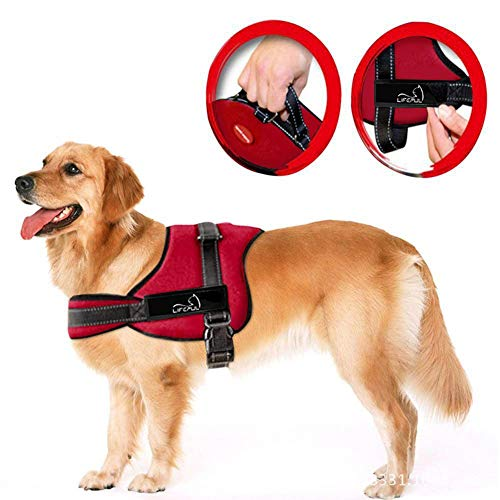 Soft Padded Dog Harness Adjustable No Pull Large Dog Power Harness - Heavy Duty Big Dogs Assistance Chest from 50-110cm Vary from Size XS-XL (M) Harness