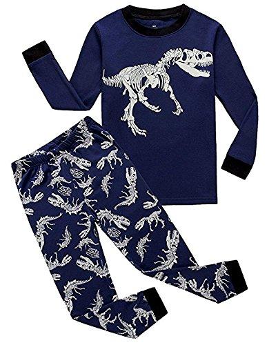 Dos Conjuntos de Pijama de Dinosaurio para los niños y niñas de algodón 100% (2-10 años)(Dinosaurio Azul Oscuro-6 años)
