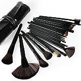 SunJas Pennelli Make Up Kit Pennelli Cosmetici Trucco spazzola professionale a 24 pezzi. Brushs per Ombretto, Make Up Set con borsa Regalo Nero