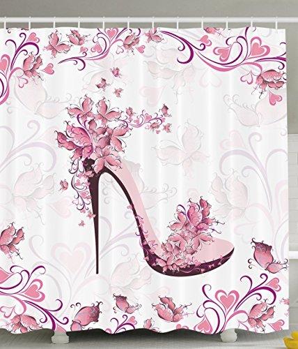 bbfhome cortinas de ducha cortina zapatos Punk y púrpura mujeres con las rosas y de los corazones y de las mariposas que Volent cuarto de baño (tela de poliéster fixés con los ganchos, poliéster, 180 (L)X 180 (H)