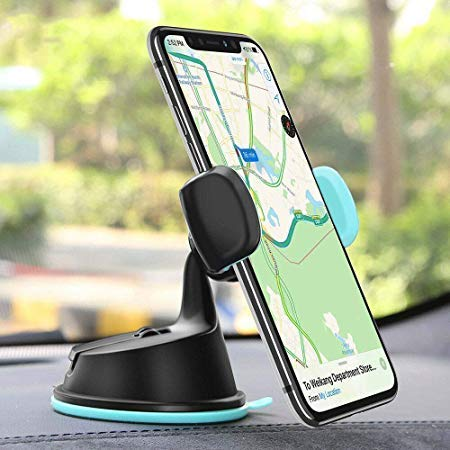CQLEK® Dual Purpose Car Mobile Phone Holder - Telescopic Neck Arm Adjustable Quick Stand Technology 360 Degree Rotation with Ultimate Reusable Suction Cup Mount for Car Dashboard/Windshield/AC Mount