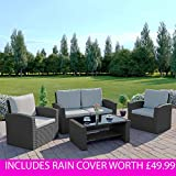 Abreo Rattan Garden Furniture Patio Conservatory New 4 Seater Wicker Weave Algarve Sofa Set (Solid Dark Grey with Light Cushions)