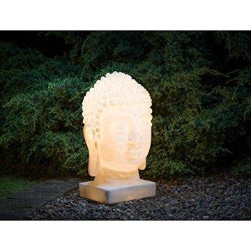 Mármol Efecto energía Solar cabeza de Buda decoración Estatua Figura decorativa luz 4