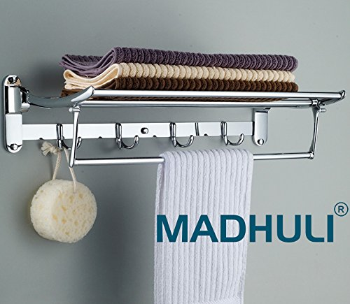 MADHULI Stainless Steel Folding Towel Rack for Bathroom (18-inch)