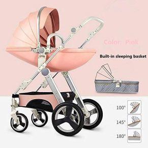 Cochecito De Bebé Cochecito De Bebé Cochecito De Bebé De Dos Vías Cochecito De Bebé 2 En 1 Recién Nacido,Pink