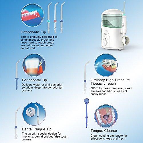 Hydropulseur Jet dentaire avec UV stérilisateur, THZY Professionnel Irrigateur Oral avec 7 Buses de Rechange Rotation 360°, Pression Réglabl... 26