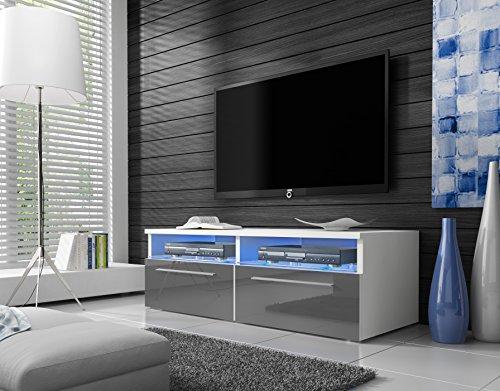 Siena - Mobile Porta TV / Supporto TV Moderno (100 cm, Bianco Opaco / Pannelli Frontali Grigio...