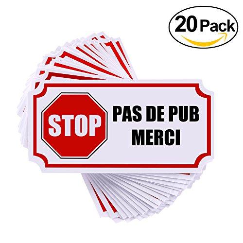 autocollant sticker stop pub pas de publicit boite aux lettres rymall 20pcs petits. Black Bedroom Furniture Sets. Home Design Ideas