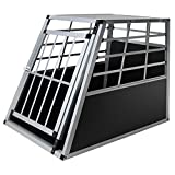 Hundetransportbox xxl Alu für Transport großer Hunde - Jalano Hundebox Auto Gitterbox geneigte Vorderseite Reisebox für Auto Kofferraum