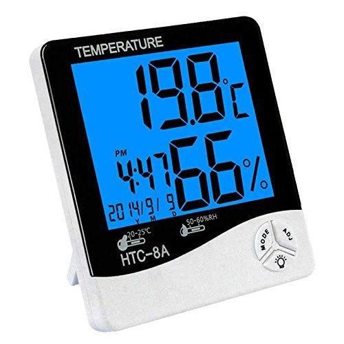 sagrach HTC-8A Humidity Meter Clock Luminous Temperature Big Display for Home & Travel
