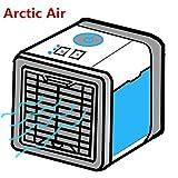 Condizionatore Portatile, Personale Refrigeratore d'Aria Mobile Ventilatore USB,3 In 1 Mini Air Cooler Umidificatore Purificatore Aria, Per Casa Ufficio Campeggio (Luce a LED 7 colori- 3 velocità)