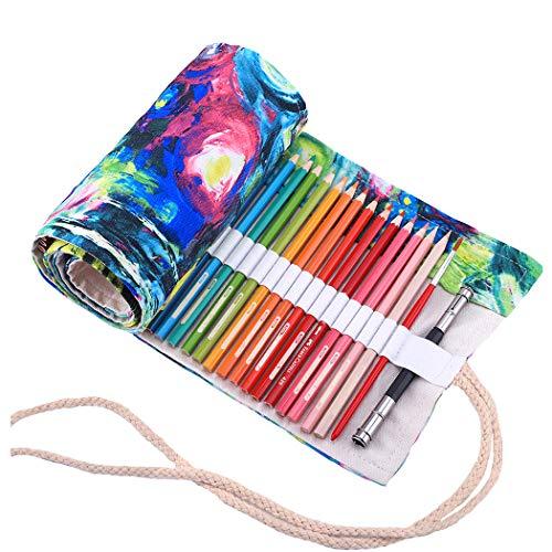 Amoyie - Sacchetto della matita portamatite arrorolabile per 72 matite colorate porta penne tela...
