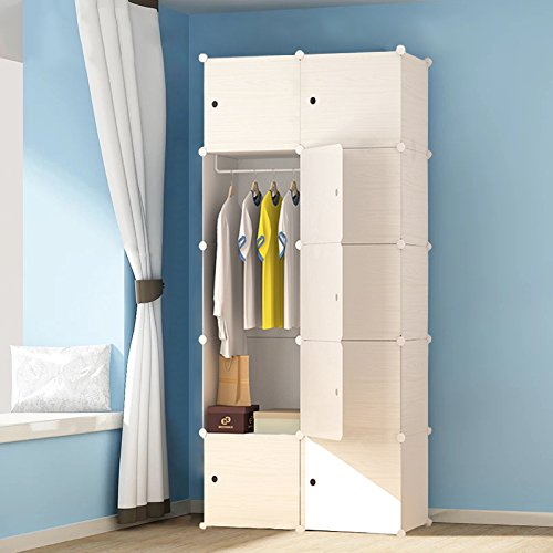 PREMAG Portable Plastic Wooden Wardrobe, Modular to Save Space, Cubes Organizer (10-Cube)