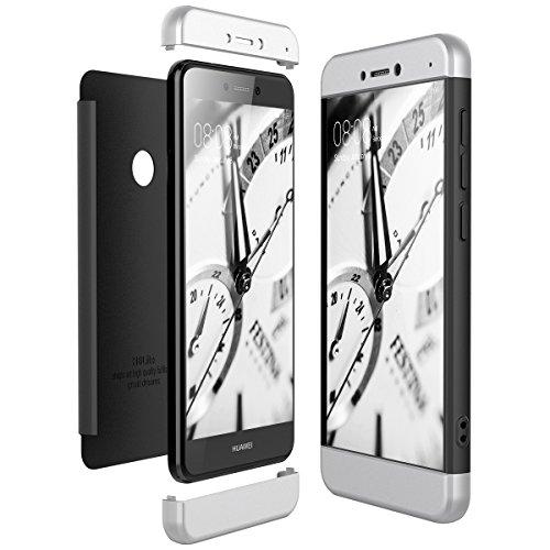 CE-Link Funda Huawei P8 Lite 2017, Carcasa Fundas para Huawei P8 Lite 2017, 3 en 1 Desmontable Ultra-Delgado Anti-Arañazos Case Protectora - Plata + Negro