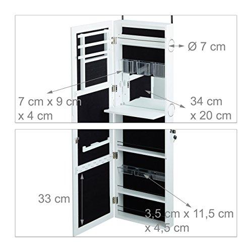 Relaxdays Schmuckschrank mit Spiegel abschließbar, Spiegelschrank groß hängend für Tür, HxBxT: 120 x 38,5 x 10 cm, weiß - 4