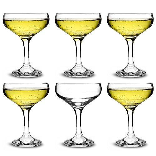 Set di 6 calici da champagne in vetro, 200ml, in elegante confezione regalo