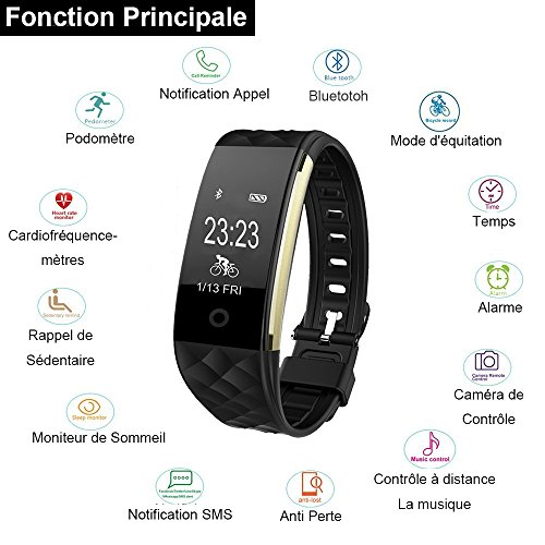 montre connect e ganriver fitness tracker d 39 activit cardiofrequencemetre etanche ip67 montre. Black Bedroom Furniture Sets. Home Design Ideas