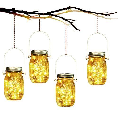 Lampada Solare, 4 Pezzi Lampade Solari Barattolo di Vetro Illuminante Impermeabile Lampade con 20...