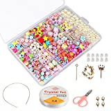 Niños bricolaje conjunto de cuentas (500pcs), Phogary DIY pulseras collares, cuentas para la fabricación de joyas para niños, kit de fabricación de cuentas como kit de regalo para niñas