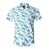 Nutexrol Funky Chemise Hawaienne Homme Chemise en Coton avec Imprimé Floral Bleu 3XL