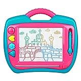 Peradix Pizarras Mágicas con Sellos Pizarra Infantil Tablero de Dibujo Educación de Dibujar y Escribir (Rosa y Azul)
