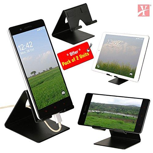 YT Metal Stand/Holder for Smartphones and Tablet (Black Matt) - Pack of 2