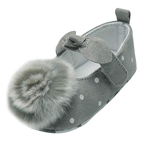 Elecenty Scarpine neonata Primi Passi Print Bowknot Hairball Soft Sole Scarpe casual Baby Shoes 0~18 mesi