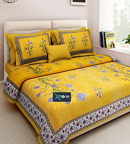 Xtore® Traditional Jaipuri Print King Size Double Bed Sheet with 2 Pillow Covers (100% Cotton)
