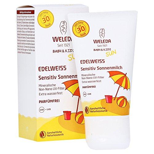 Weleda Edelweiss Sensitiv Sonnenmilch Baby & Kind LSF 30 - Sonnencreme für Erwachsene und Kinder, Suncream, Sonnenschutz