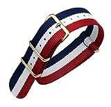 18 millimetri blu / bianco / rosso high end stile NATO superiore nylon balistico sostituzione cinturino cinturino per gli uomini