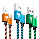 Aione Cavo Micro USB 2M [3-Pezzi] Cavo Android Nylon Intrecciato Cavo USB Micro USB Compatibile con Samsung S5/S6/S7, Huawei, HTC, Nokia, Motorola, LG, HTC, Sony-Blue, Orange, Green
