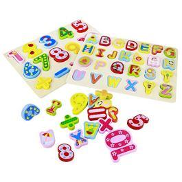 Puzzle di Legno Lettere Numero 2 in 1 Set di Puzzle Alfabeto Educativi ABC Giocattolo Educativo Rega
