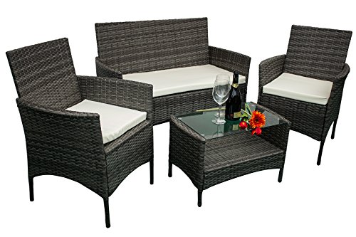 AVANTI TRENDSTORE - Andria - Set di mobili da giardino in ecorattan, 2 poltrone singole, 1 poltrona...