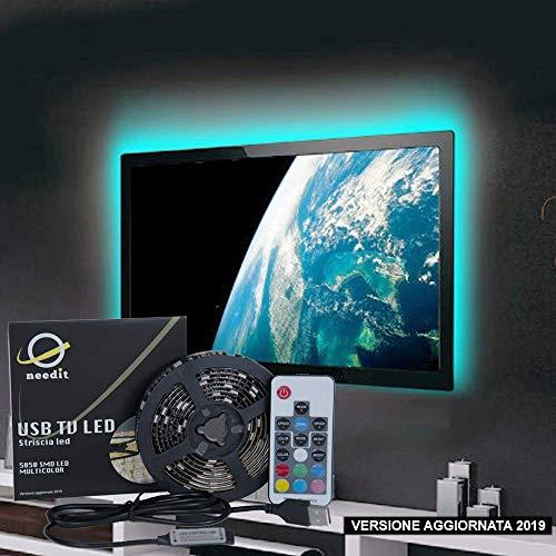 Retroilluminazione LED TV NeedIT, Striscia LED RGB 2m Alimentata USB, Nastro Led Impermeabile Per...