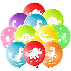 """FEPITO 32 Pieces 12 """"Dinosaurs Balloons Globos de látex de Dinosaurio para Decoraciones de Fiesta de Dinosaurios, 8 Colores"""