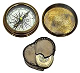 Antique Brass Poem Compass With Leather Case